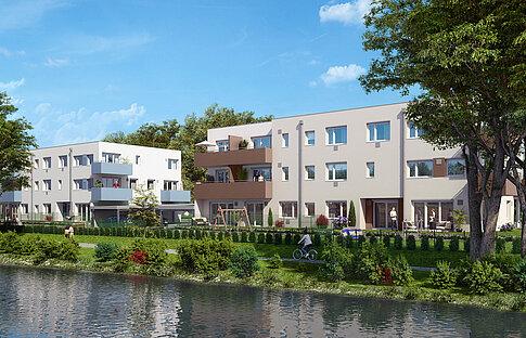 Welser Heimstätte - Fabrikstraße 4 - Flussansicht - 18 Mietwohnungen ab Frühjahr 2021